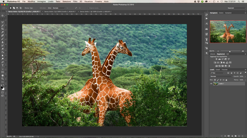 L'interfaccia di Adobe Photoshop CC 2015