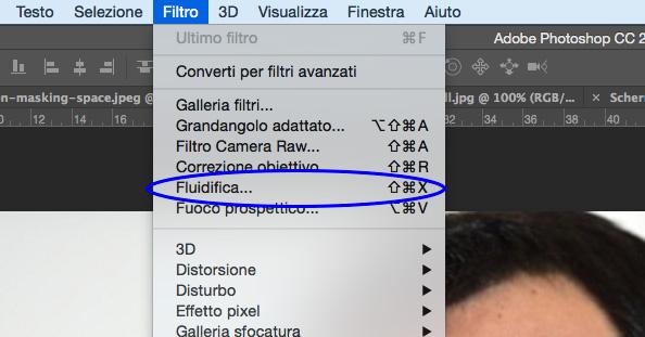 Filtro fluidifica Photoshop