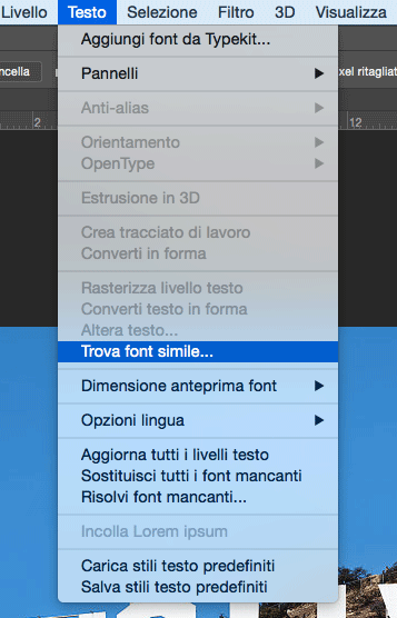 Trova font simile Photoshop